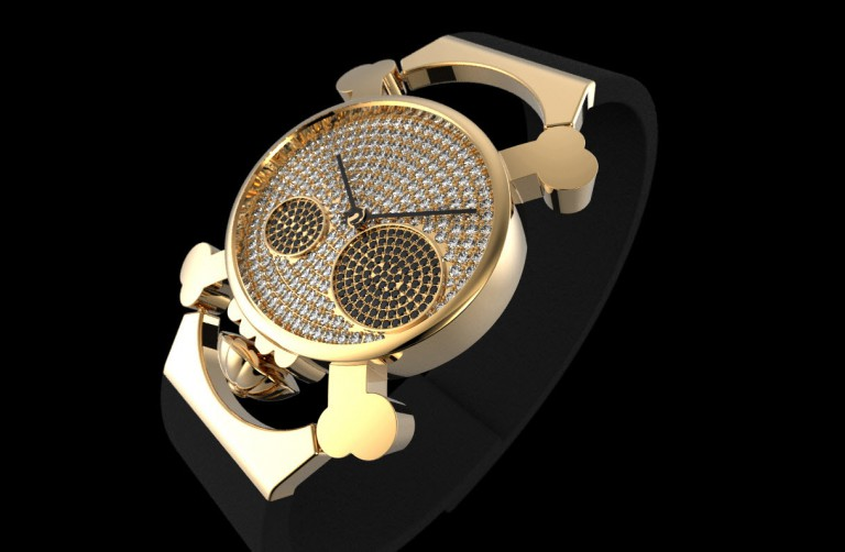 Gold And Diamonds Skull Watch